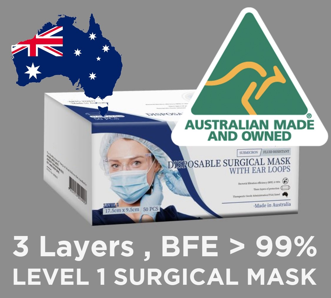 *** AUSTRALIAN MADE*** LEVEL 1 Disposable Surgical Face Mask,General Purpose, BFE>95%