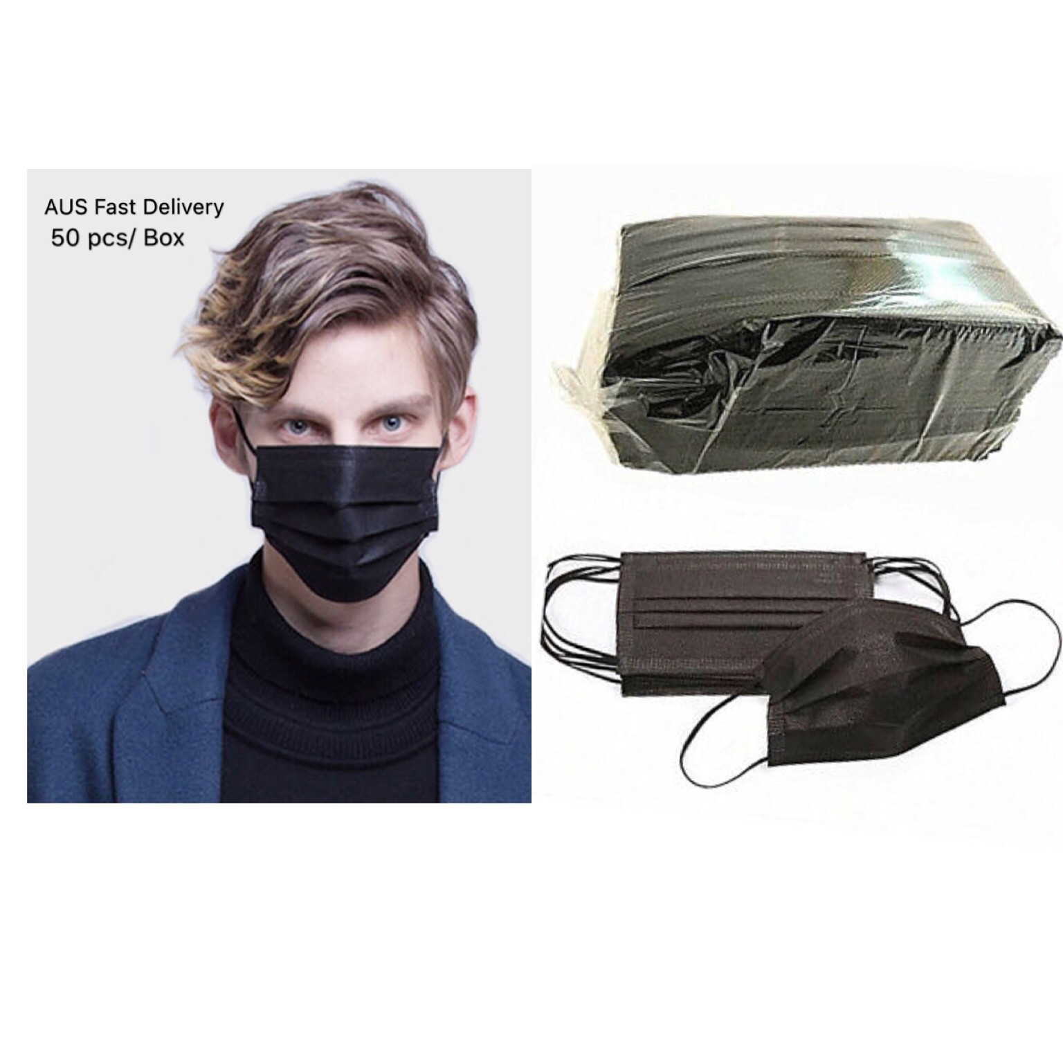 LEVEL 1 TYPE I Disposable BLACK Face Mask, Protective Face Mask Wholesale Supply General Protective Purpose