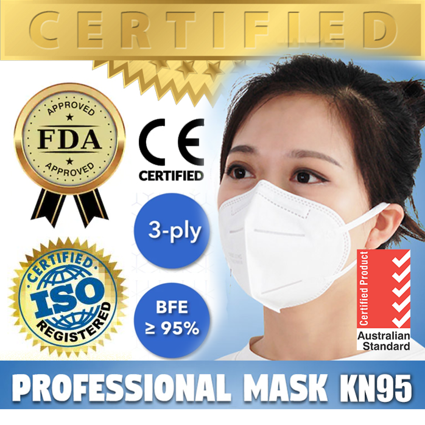 PREMIUM N95 / KN95 Surgical Sterile Medical Mask (CE, FDA, TGA) - Individual Packed