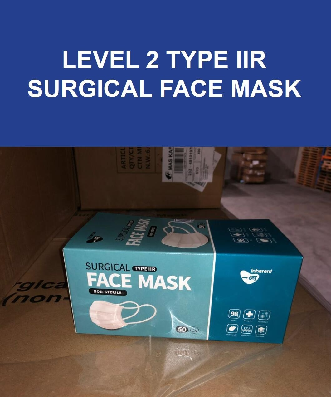 EEXI Level 2 TYPE IIR Disposable Medical Surgical Face Mask - Surgical Mask Medical Face Mask, BFE>98% (CE Certified, TGA  ARTG Listed)