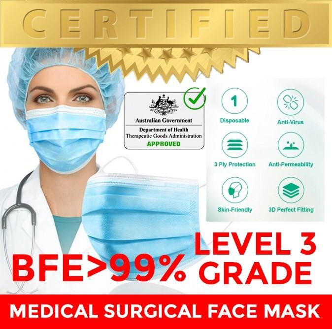 Level 3 Surgical Mask Medial Mask Face Mask, BFE>99% (CE Certified, ARTG LISTED)