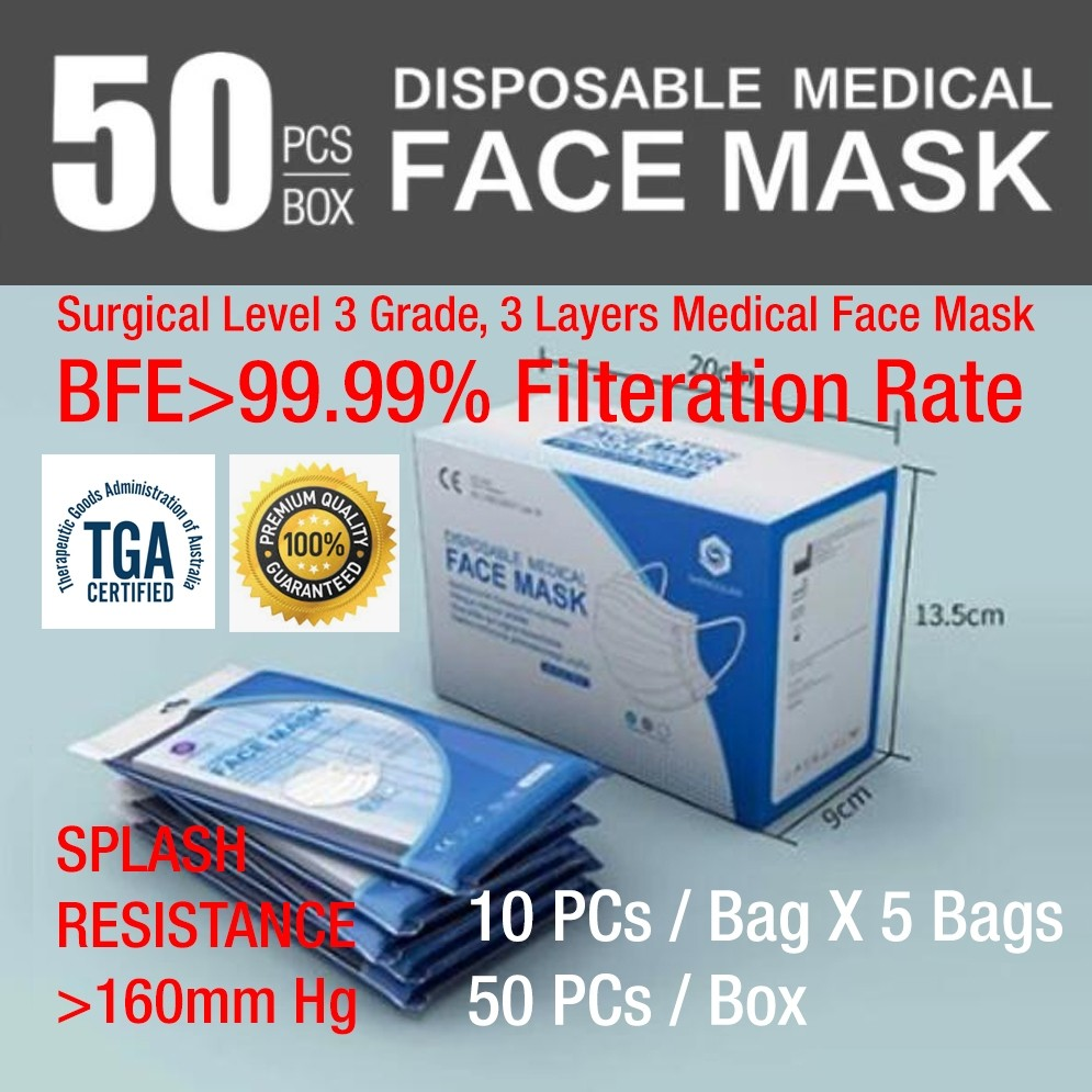 SQ Disposable Medical Surgical Face Mask - Level 3 Surgical Mask Medical Face Mask, BFE>99% (CE Certified, TGA  ARTG Listed)