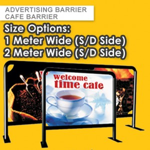 50mm STEEL FRAME CAFE BARRIER - CUSTOM BARRIERS  – EVENT BARRIER - TRAFFIC BARRIER