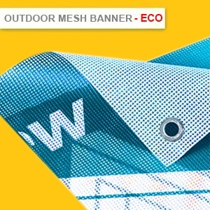 OUTDOOR MESH BANNER ECO - INDOOR AND GENERAL OUTDOOR GRADE (HIGH RESOLUTION PRINTING) MAX SIZE 1.5M X 50M