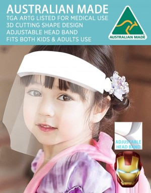 WHITE PROTECTIVE FACE SHIELD - ARTG LISTED - FOR BOTH KIDS AND ADULT