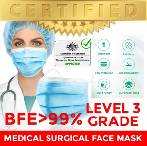 TGA ARTG Level 3 Surgical Mask Medial Mask Face Mask, BFE>99% (CE, FDA, TGA ARTG)