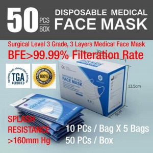 Disposable Medical Surgical Face Mask - Level 3 Surgical Mask Medical Face Mask, BFE>99% (CE Certified, TGA  ARTG Listed)
