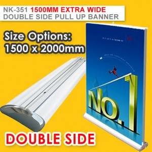 1.5m WIDE DOUBLE SIDE DELUXE PULL UP BANNER