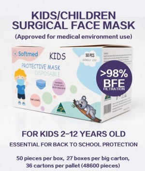 ***AUSTRALIAN MADE*** Kids Face Mask, Level 3 Surgical Children Protection Mask Student Face Mask, Premium Protection, BFE>98% (ARTG LISTED)