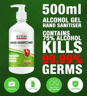 KYTOO (UK BRAND) HAND SANITIZER (HAND SANITISER) 500ML 75% ALCOHOL WATER FREE