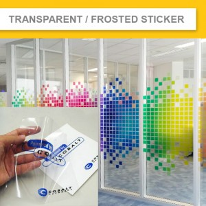 TRANSPARENT STICKER & FROSTED STICKER (Minimum order $90+gst)
