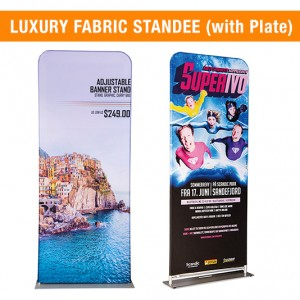 DOUBLE SIDE FABRIC STANDEE   FABRIC BANNER STAND   FABRIC DISPLAY (WITH PLATE)