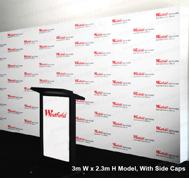 Pop up backdrop banner media wall 3m x 2.3m